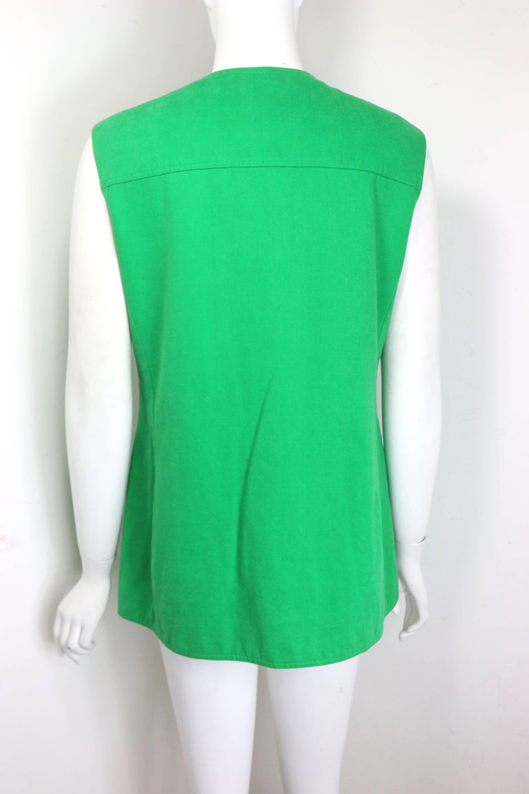 Gianni Versace Jeans Couture Green Cotton Collarless Vest In Excellent Condition For Sale In Sheung Wan, HK