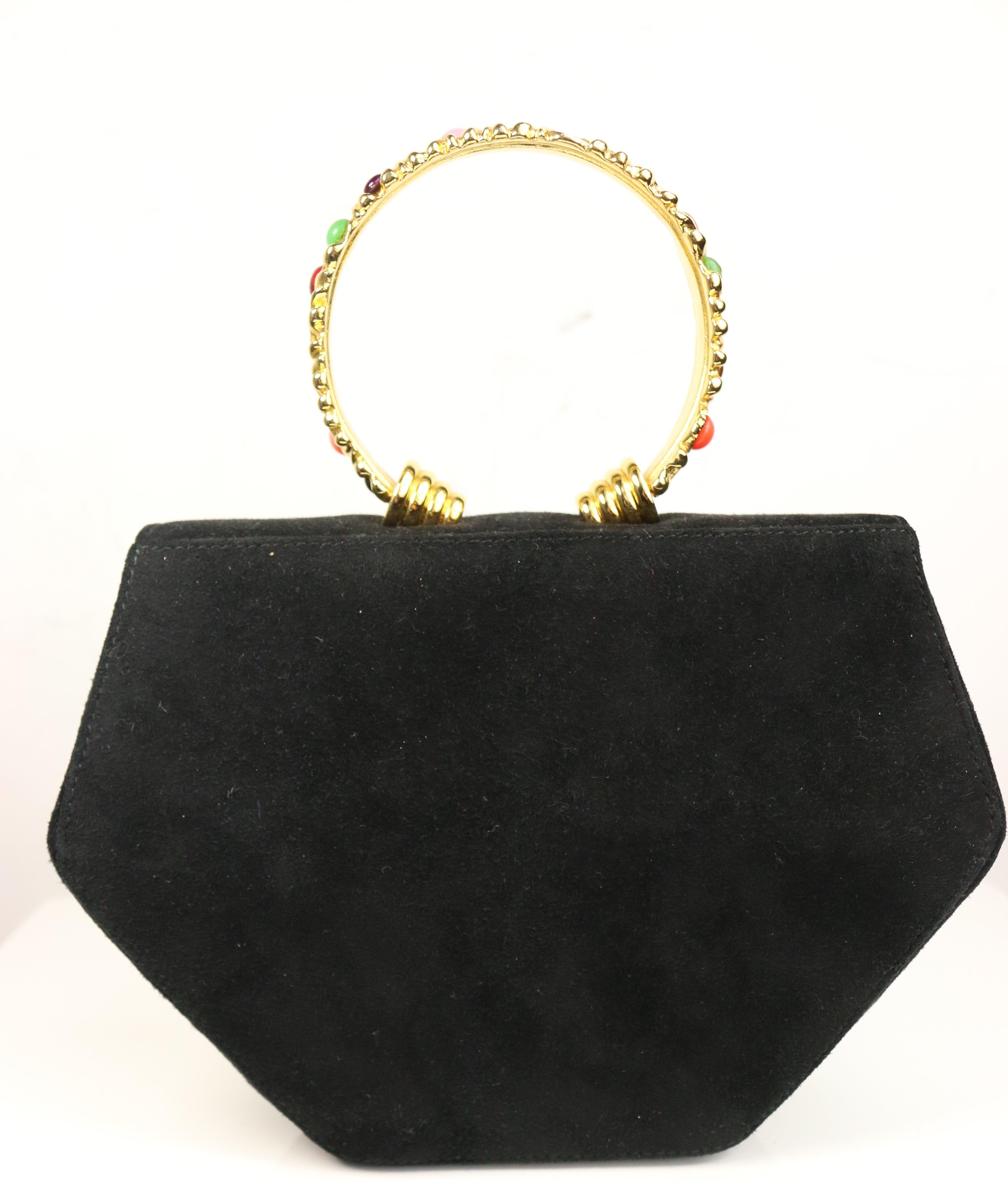 d4e9b3a3 Rodo Black Suede Gold Toned Handle with Colour Stones Octagon Shoulder Bag