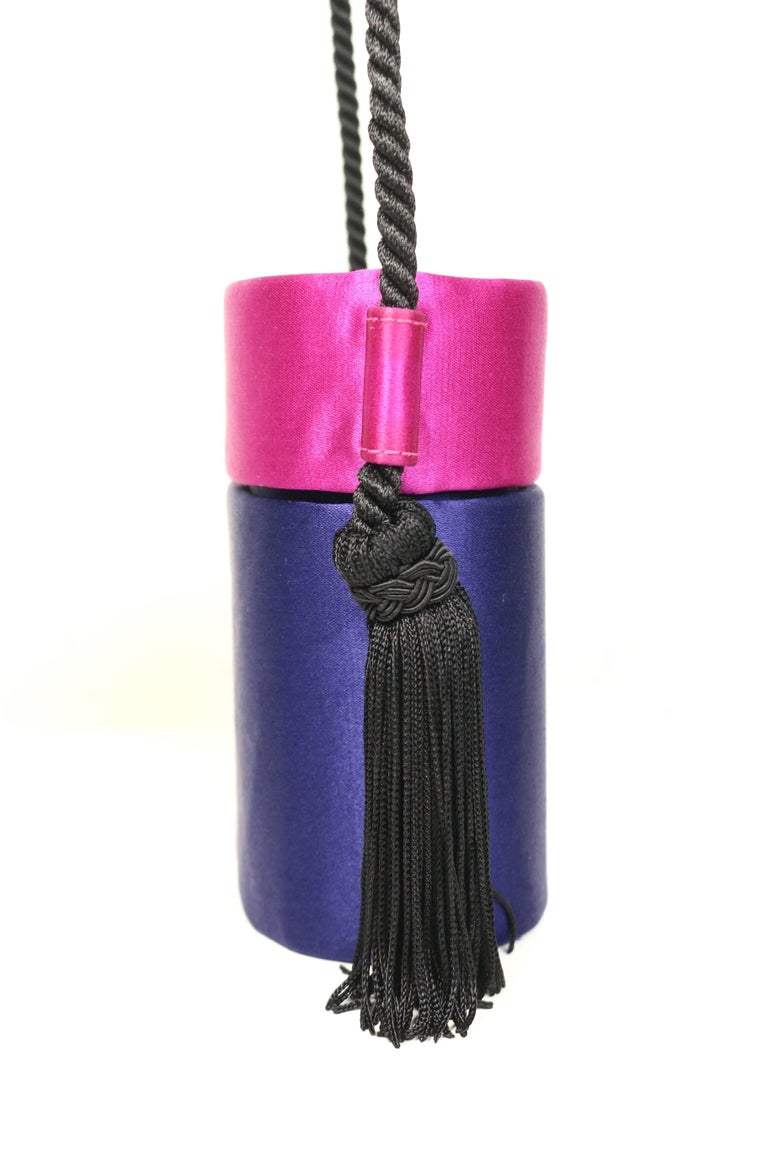 Purple Escada Blue and Pink Silk Box Tassel Clutches Shoulder Bag For Sale