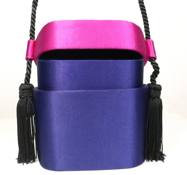 Escada Blue and Pink Silk Box Tassel Clutches Shoulder Bag For Sale 1