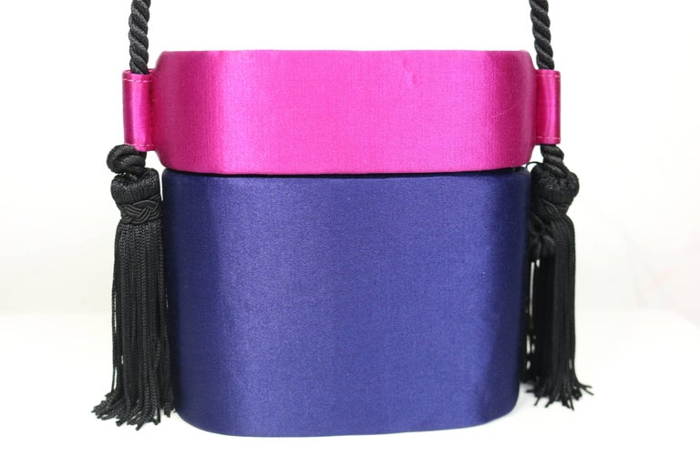 Escada Blue and Pink Silk Box Tassel Clutches Shoulder Bag In Excellent Condition For Sale In Sheung Wan, HK