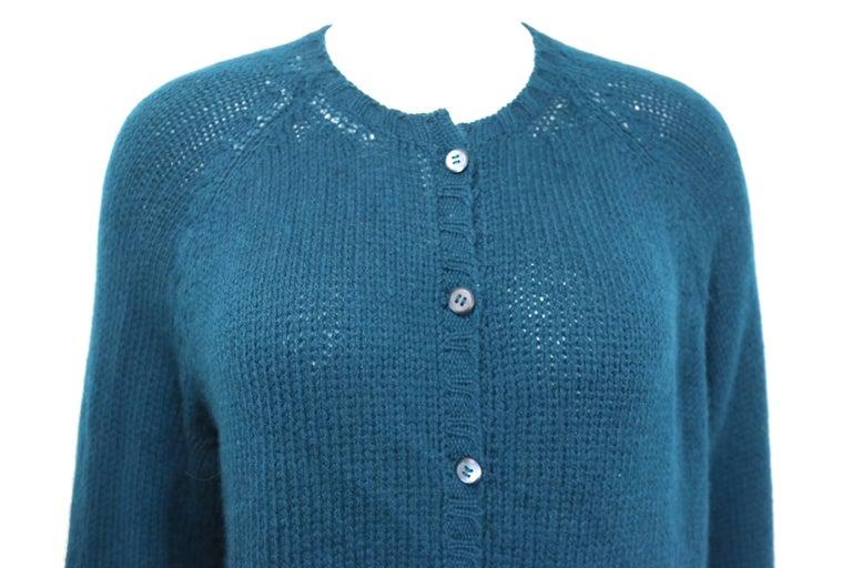 Vintage 90s Prada Teal Cashmere Cardigan