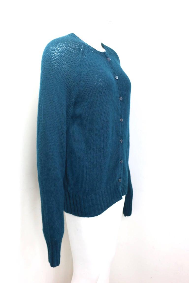 Blue Vintage 90s Prada Teal Cashmere Cardigan  For Sale