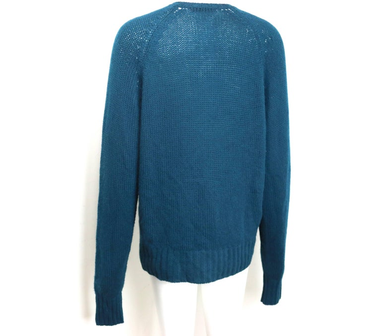 Vintage 90s Prada Teal Cashmere Cardigan  In Excellent Condition For Sale In Sheung Wan, HK