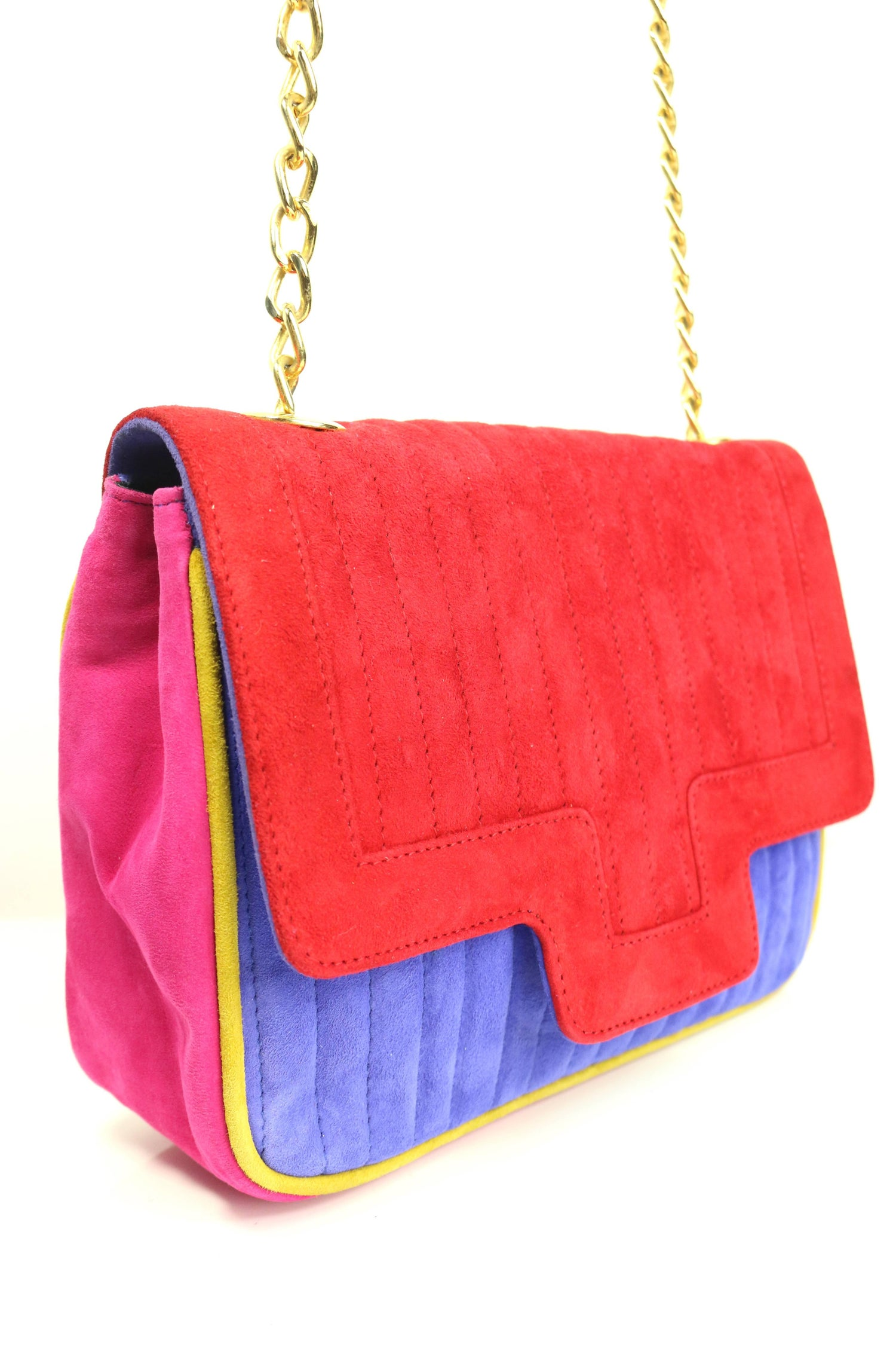 1stdibs Pancaldi Colour Blocked Suede Flap Shoulder Bag YZxH5