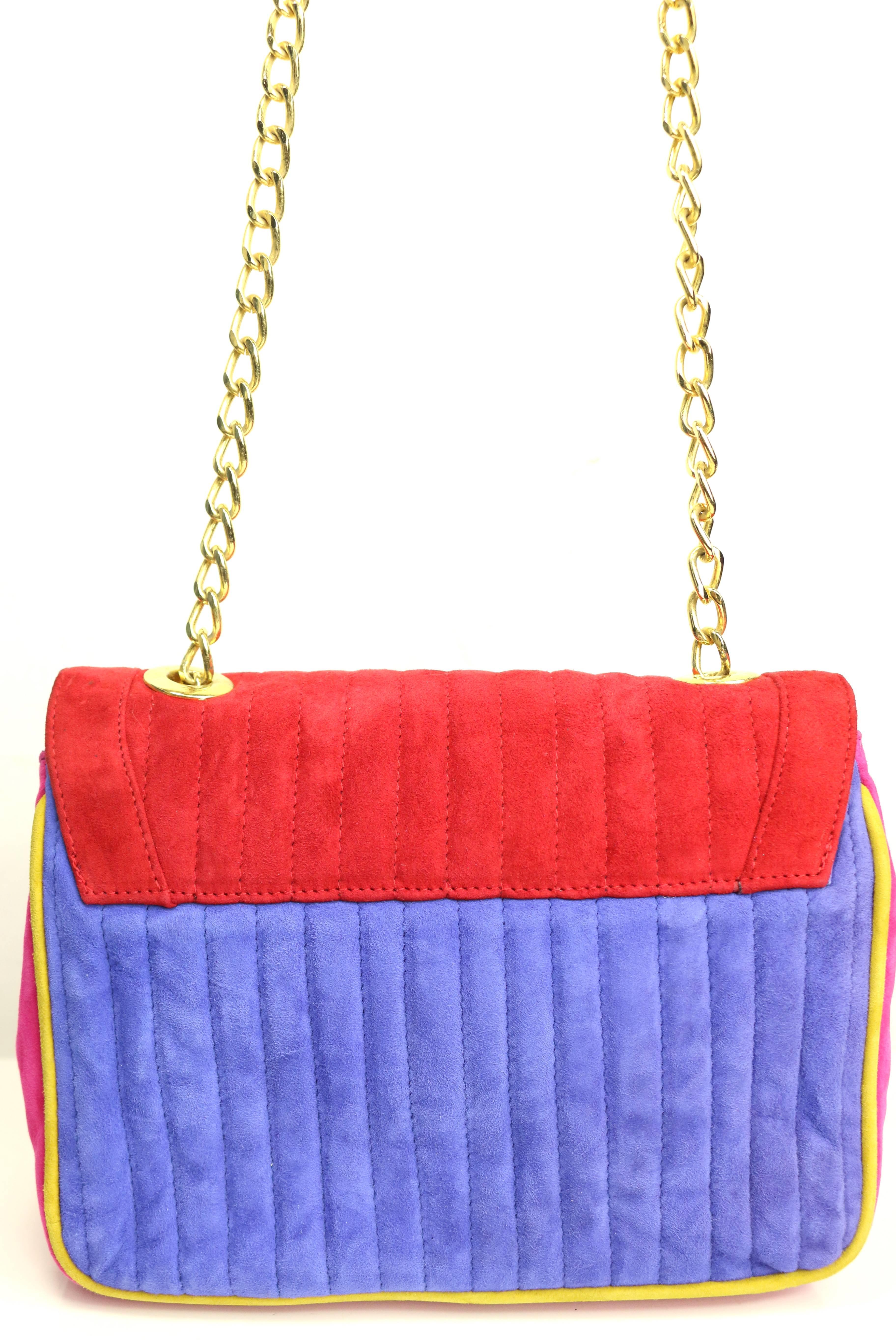 1stdibs Pancaldi Colour Blocked Suede Flap Shoulder Bag QH2xrc