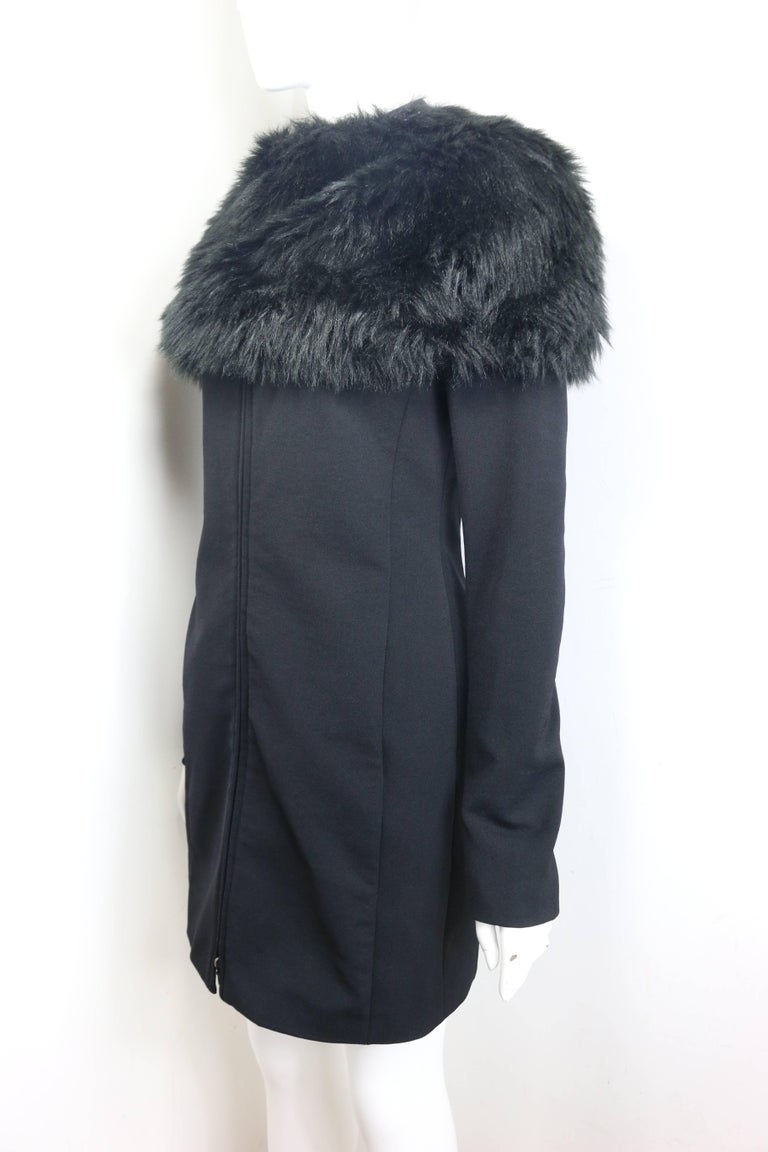 Women's Prada Black Nylon with Detachable Black Faux Fur Jacket  For Sale