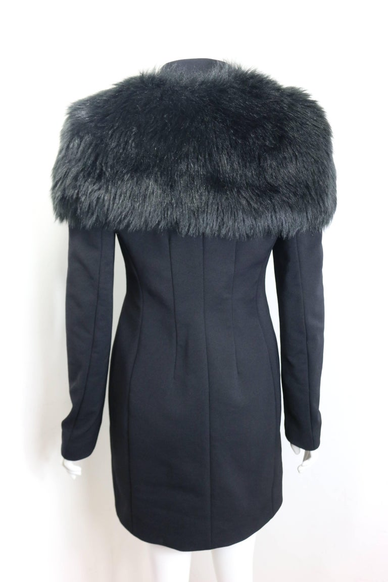 Prada Black Nylon with Detachable Black Faux Fur Jacket  For Sale 2