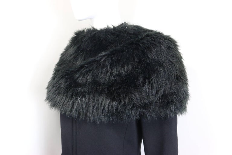 Prada Black Nylon with Detachable Black Faux Fur Jacket  For Sale 1
