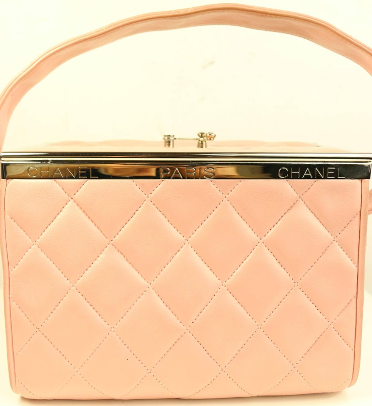Orange Chanel Pink Quilted Lambskin Leather Box Handbag For Sale
