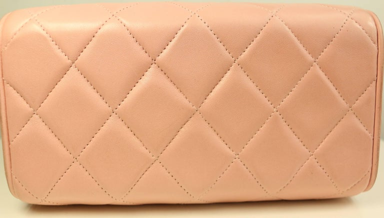 Chanel Pink Quilted Lambskin Leather Box Handbag In Excellent Condition For Sale In Sheung Wan, HK