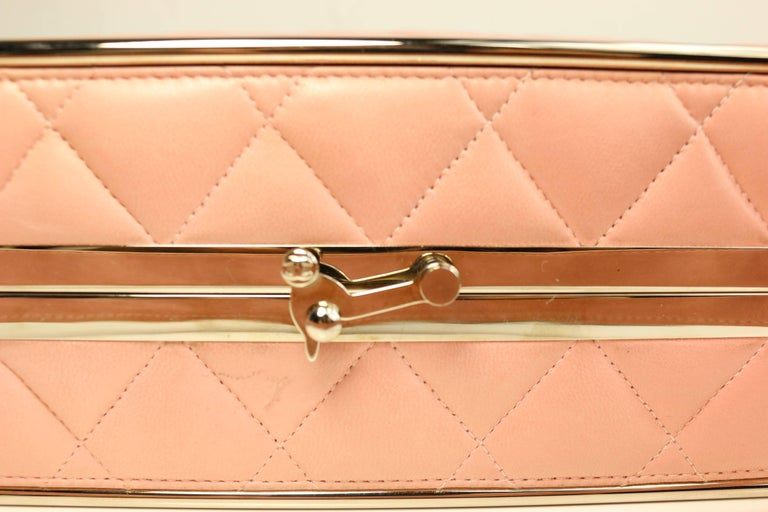 Women's Chanel Pink Quilted Lambskin Leather Box Handbag For Sale