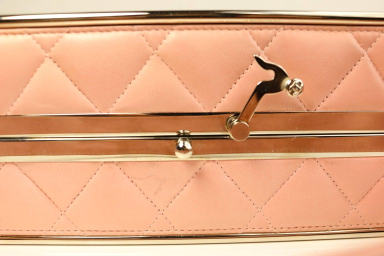 Chanel Pink Quilted Lambskin Leather Box Handbag For Sale 1