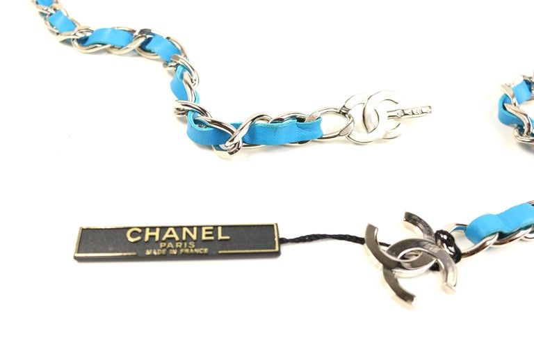 Chanel Turquoise Lambskin Leather
