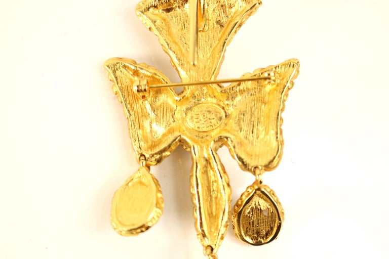 Christian Lacroix Black and White Cross Gold Toned Setting Brooch  For Sale 1