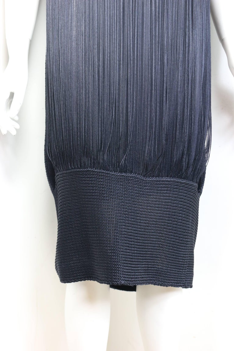 Jil Sander Navy Knitted with Fringe Dress In Excellent Condition For Sale In Sheung Wan, HK