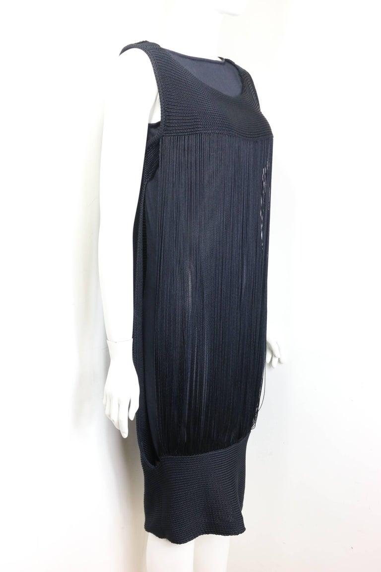 Women's Jil Sander Navy Knitted with Fringe Dress For Sale