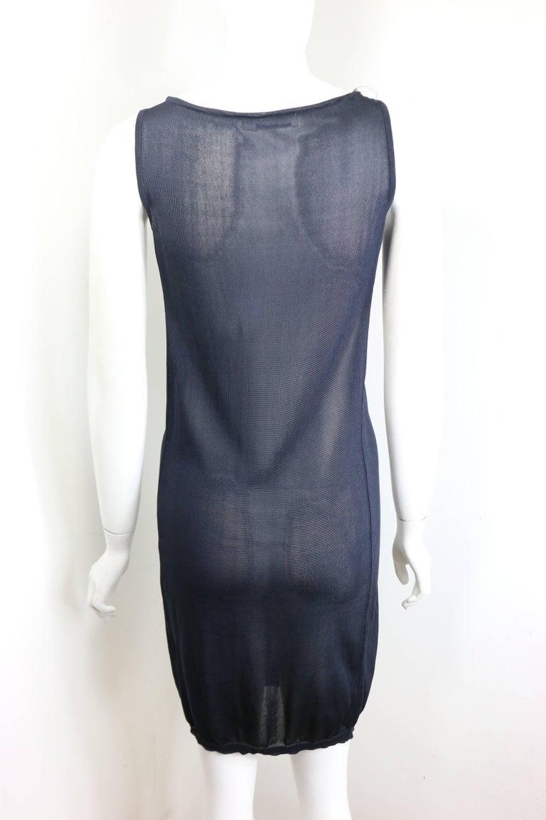 Jil Sander Navy Knitted with Fringe Dress For Sale 5
