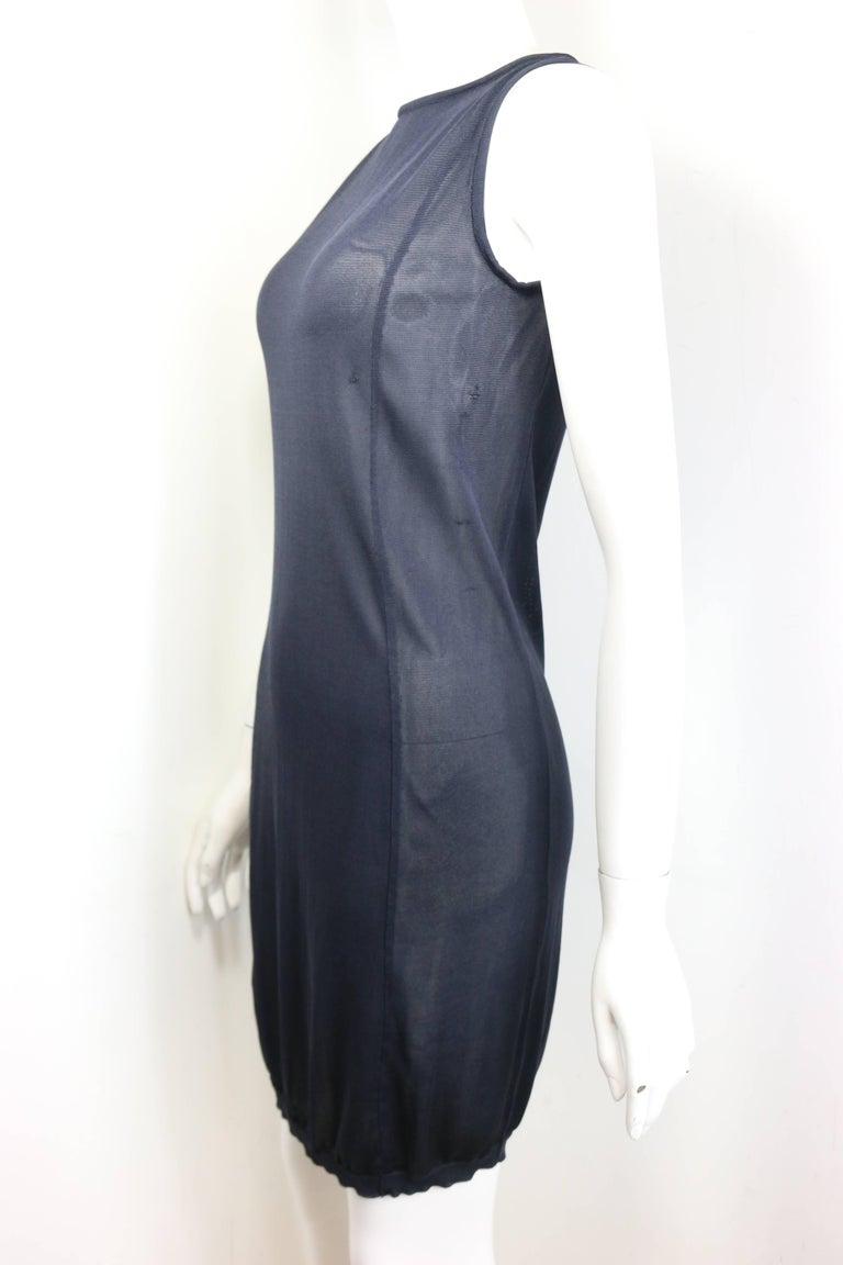 Jil Sander Navy Knitted with Fringe Dress For Sale 4