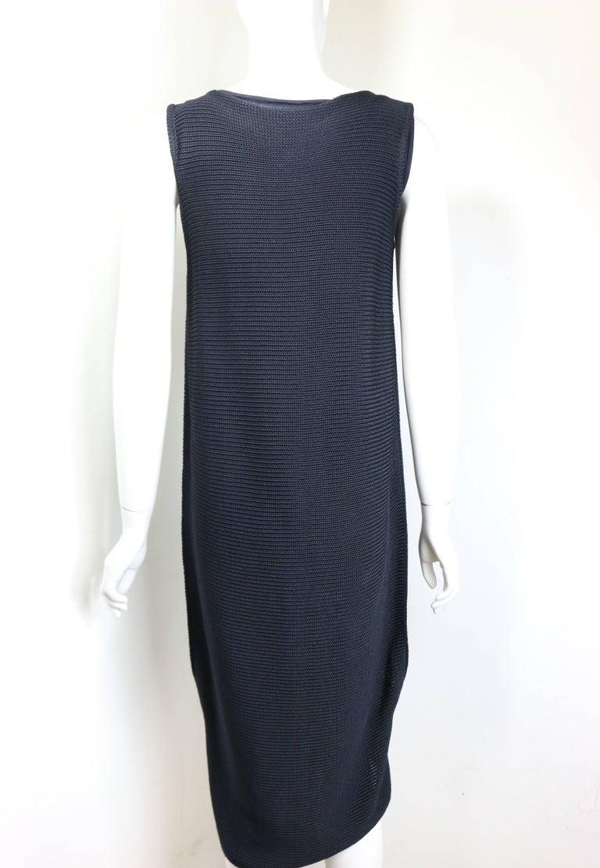 Jil Sander Navy Knitted with Fringe Dress For Sale 1