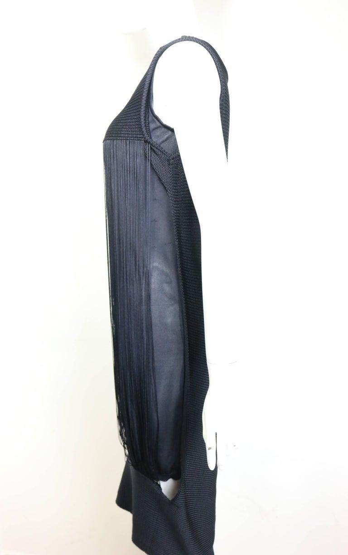 Jil Sander Navy Knitted with Fringe Dress For Sale 2