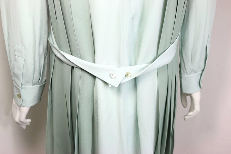 Chloe Green Silk Two-Tone Pleated Long Sleeves Dress  In New Condition In Sheung Wan, HK