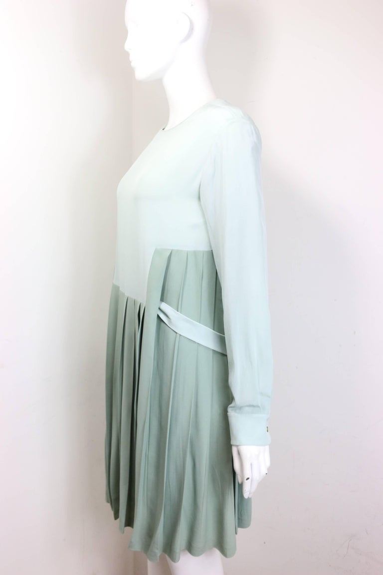 Chloe Green Silk Two-Tone Pleated Long Sleeves Dress  For Sale 1
