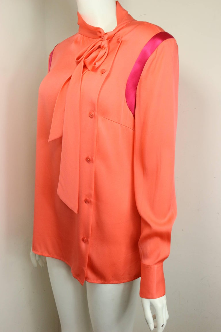 Red Ports Orange Silk Button Shirt  For Sale