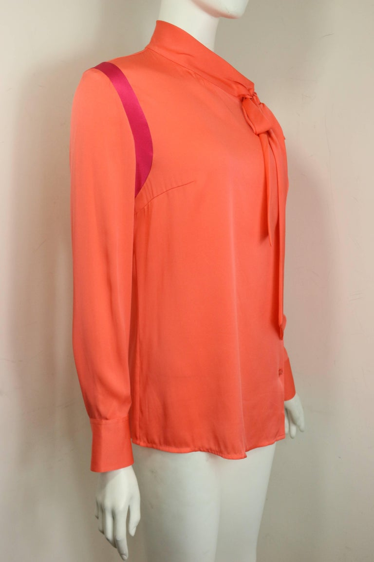 Ports Orange Silk Button Shirt  In Excellent Condition For Sale In Sheung Wan, HK