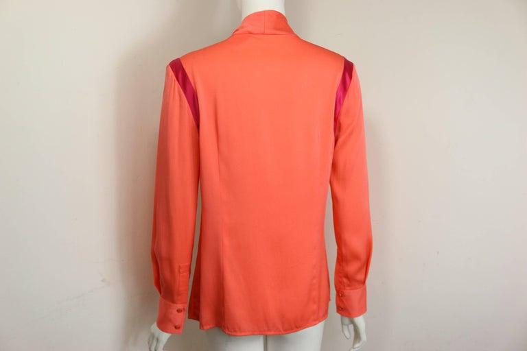 Women's Ports Orange Silk Button Shirt  For Sale