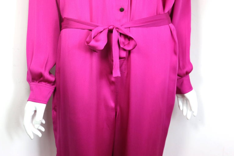 Lanvin Pink Silk Button Front Jumpsuit.  In Excellent Condition For Sale In Sheung Wan, HK