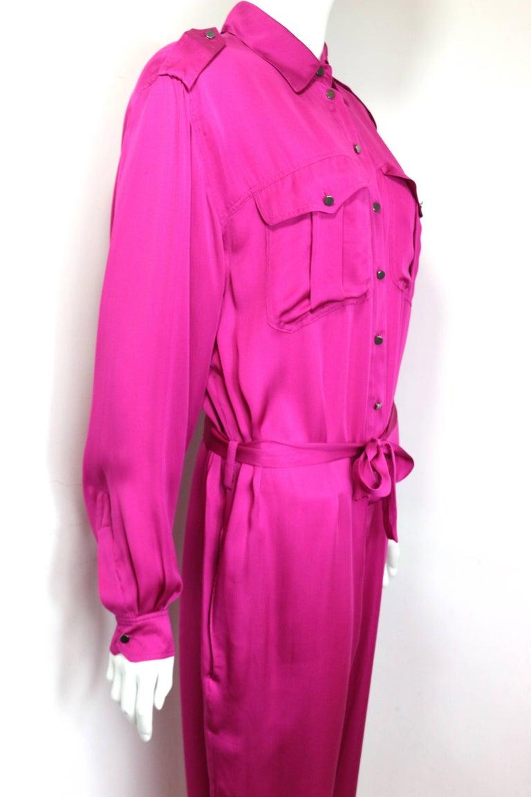 Women's Lanvin Pink Silk Button Front Jumpsuit.  For Sale