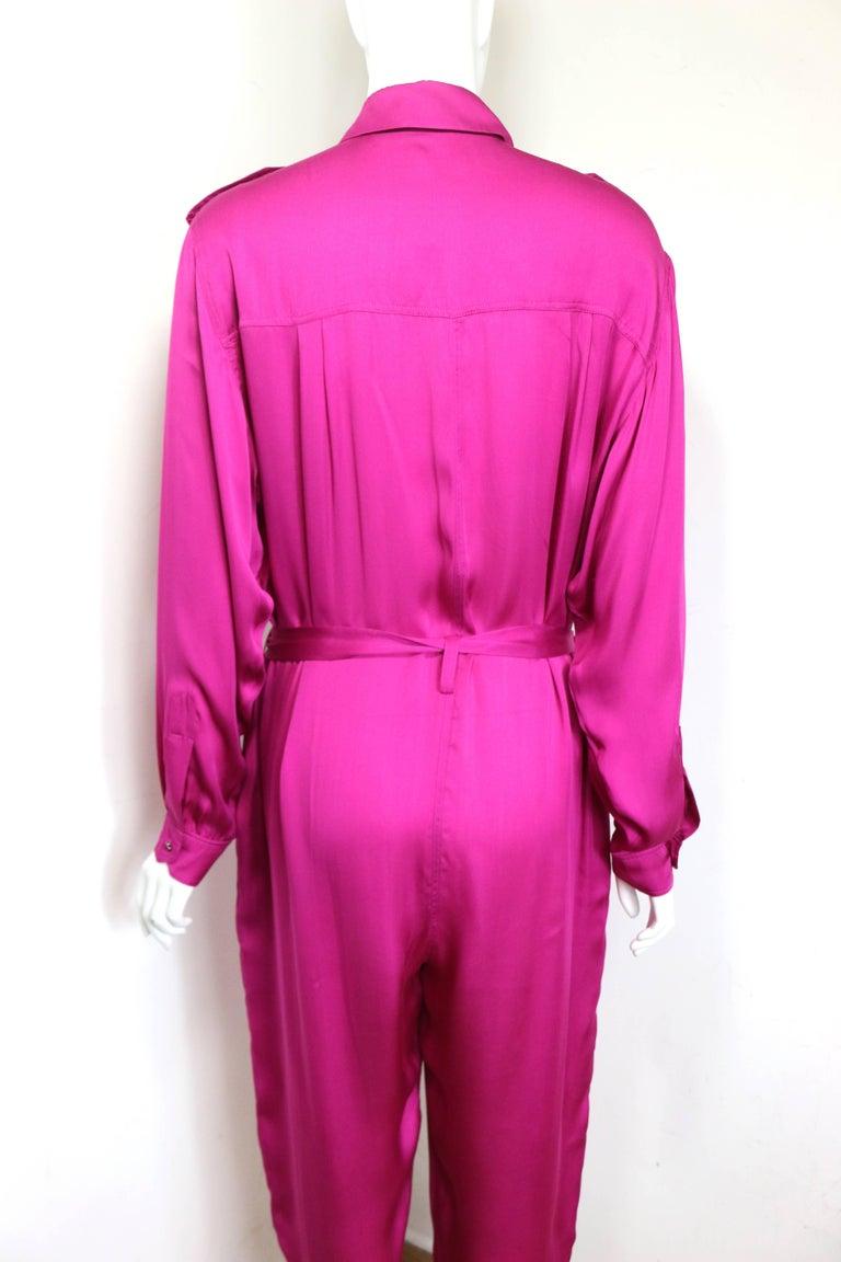 Lanvin Pink Silk Button Front Jumpsuit.  For Sale 1