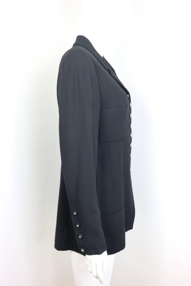 "Women's Chanel Classic Black Wool Silver ""CC"" Buttons Jacket  For Sale"
