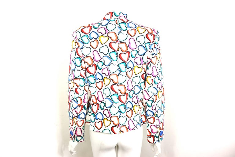"Yves Saint Laurent White Multi Colours ""Hearts"" Blazer In Excellent Condition For Sale In Sheung Wan, HK"