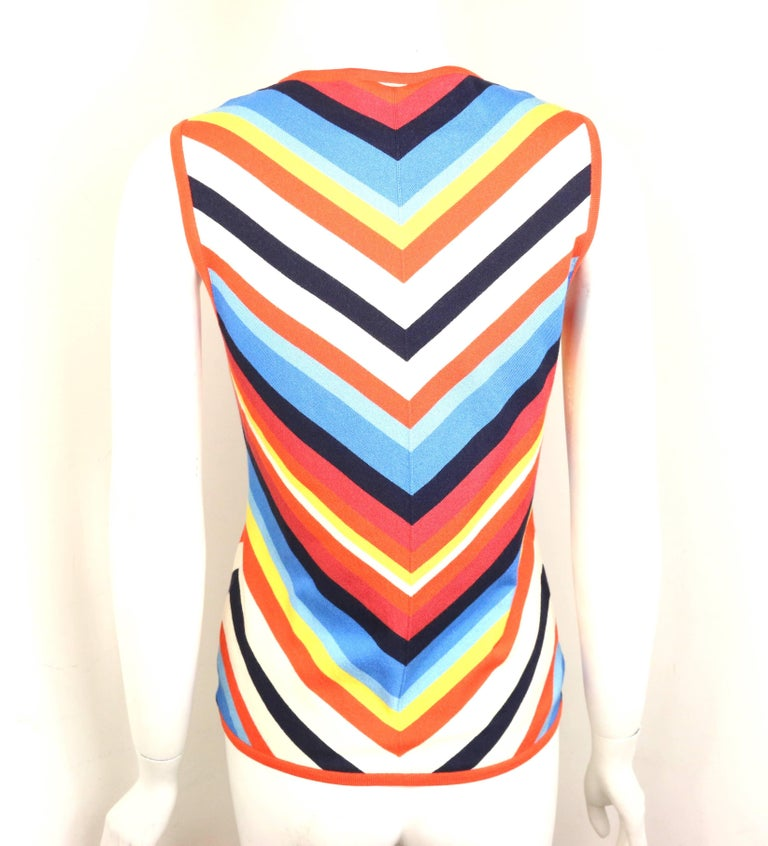 Celine Silk Colour Blocked Chevron Pattern Sleeveless Top  In New Never_worn Condition For Sale In Sheung Wan, HK