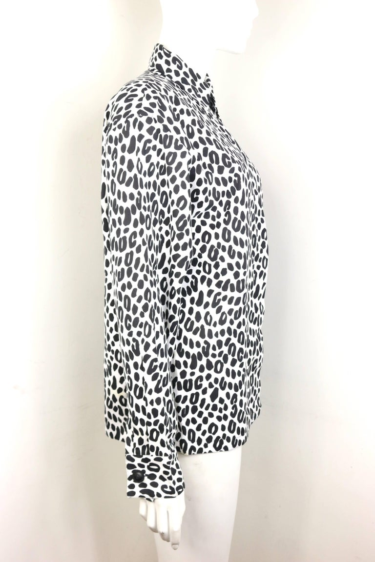 Women's Gianni Versace Couture White and Black Dalmatian Print Cotton Shirt For Sale