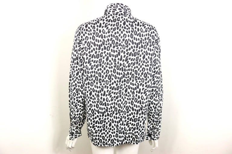 Gianni Versace Couture White and Black Dalmatian Print Cotton Shirt For Sale 1