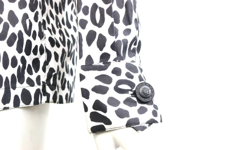 Gianni Versace Couture White and Black Dalmatian Print Cotton Shirt For Sale 3