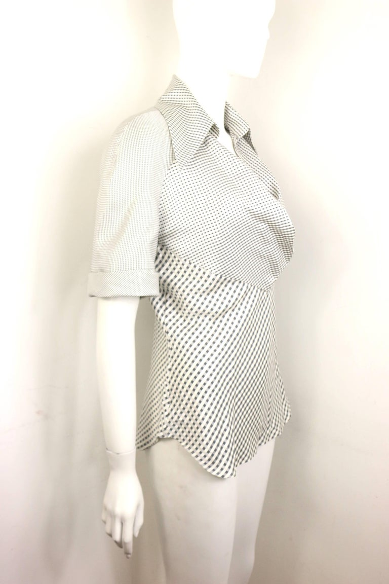 Gray Givenchy Couture by Alexander McQueen Black and White Silk Check Collar Blouse For Sale