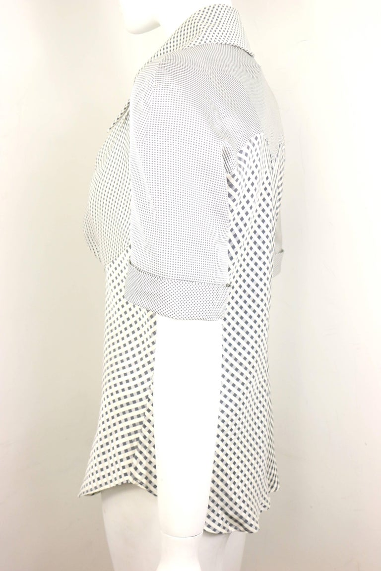 Givenchy Couture by Alexander McQueen Black and White Silk Check Collar Blouse In New Condition For Sale In Sheung Wan, HK