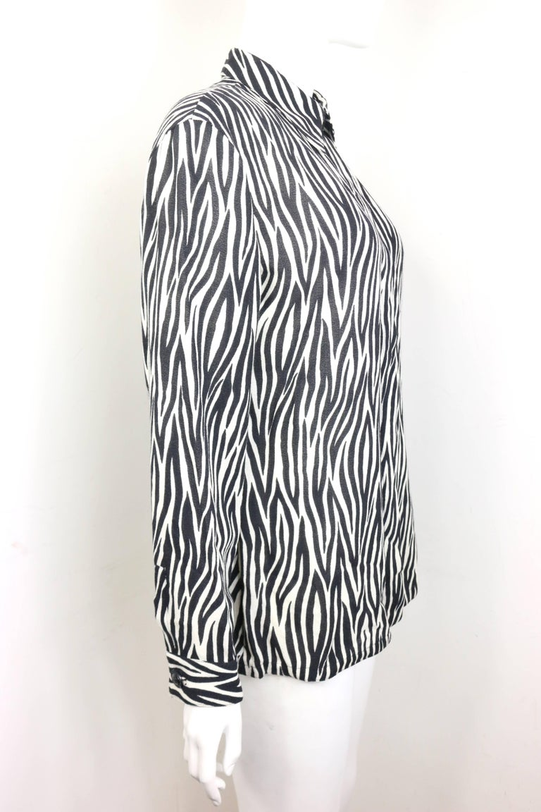 Women's Gianni Versace Couture Black and White Wool Zebra Pattern Shirt  For Sale