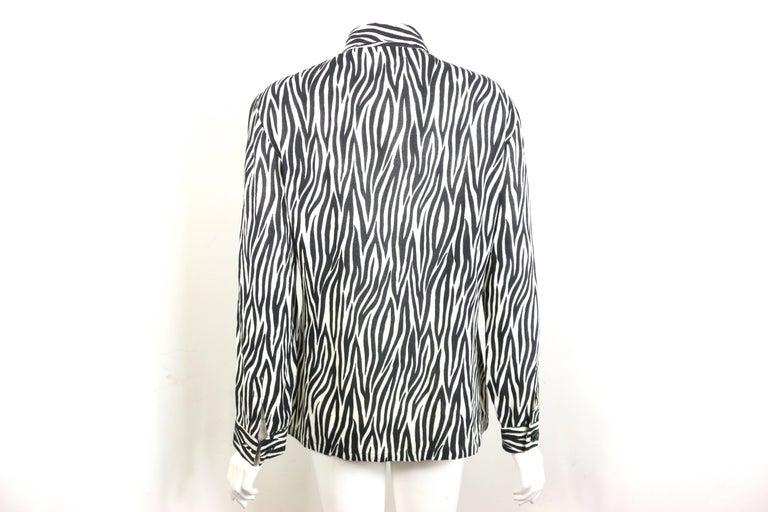 Gianni Versace Couture Black and White Wool Zebra Pattern Shirt  For Sale 1