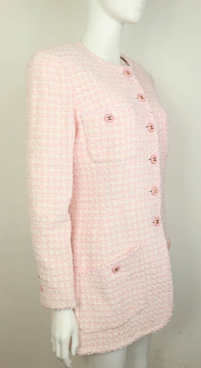 Women's Chanel White and Pink Tweed Jacket For Sale