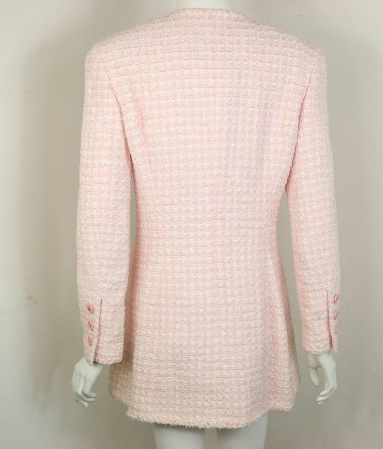 Chanel White and Pink Tweed Jacket For Sale 1