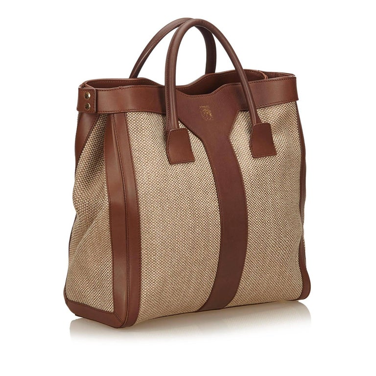 Ysl Brown And Beige Woven And Linen Y Tote Bag At 1stdibs
