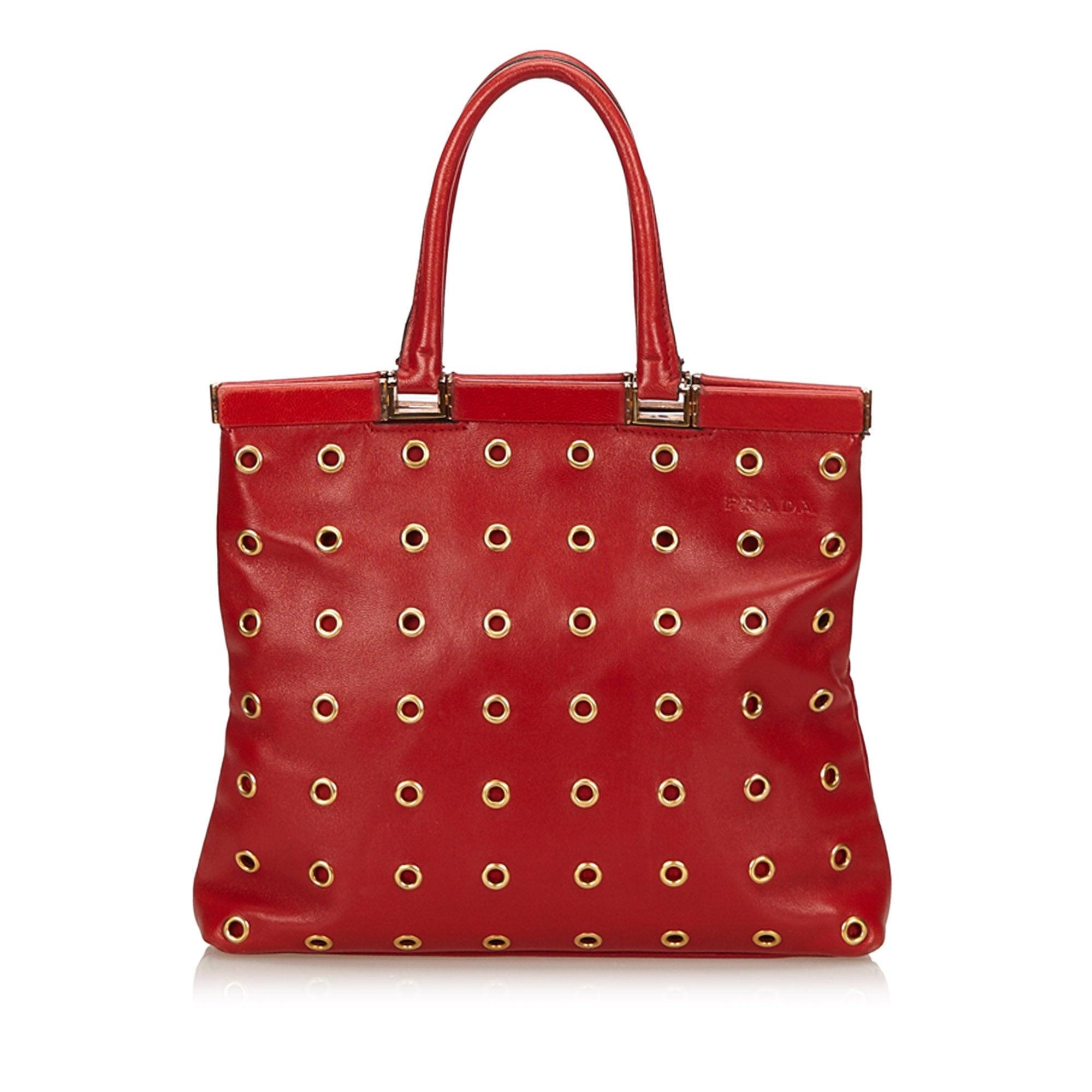 3cd42e5bd050 ... top quality prada red calf leather 18 carat gold toned eyelet handbag  for sale at 1stdibs