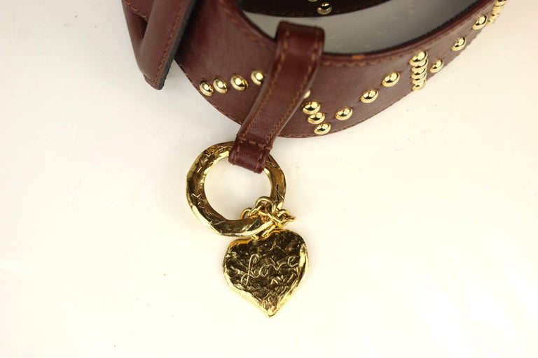 Women's Yves Saint Laurent Brown Leather Gold Toned Studs with Gold Heart Charm Belt  For Sale
