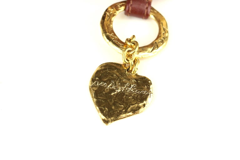 Yves Saint Laurent Brown Leather Gold Toned Studs with Gold Heart Charm Belt  For Sale 1