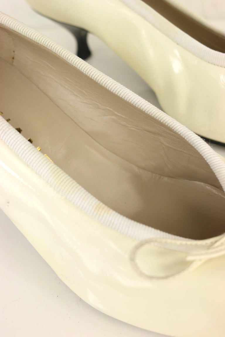 Beige Chanel Black and White Patent Leather with Tied Ribbon Shoes For Sale
